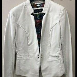 Black Rivet White Faux leather jacket